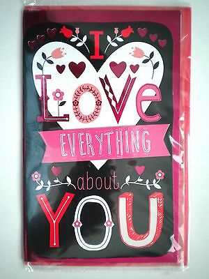 """Luxury Embellished """"i Love Everything About You"""" Valentine's Day Greeting Card"""