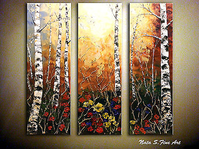 "Triptych Landscape Original Abstract Textured Painting.Modern 36""....by Nata S"