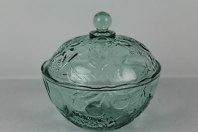 Green Depression Glass covered candy dish