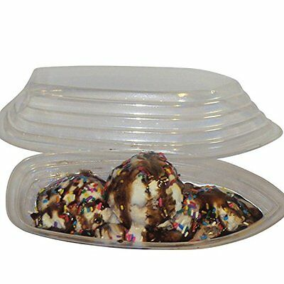 Ultra Clear Plastic Banana Split Dishes ice cream Bowls and Lids , 20 -8 o...NEW
