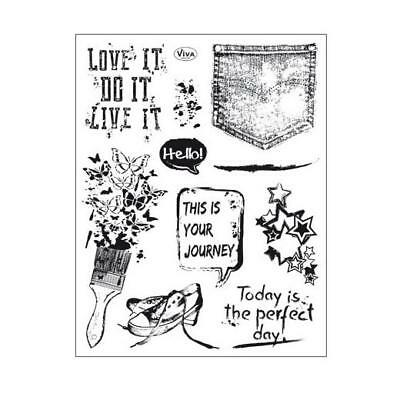 Viva Decor A5 Clear Silicone Stamps Set - Grunge #157