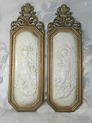 Vintage 1967 Set 2 Gold & Ivory Angel & Cherub Wall Plaques Pictures Dart Ind.