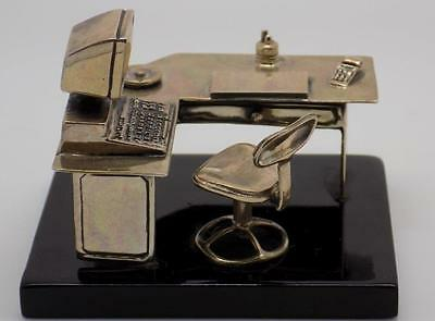 Vintage Solid Silver 90s Office Space Miniature & Light Base - Stamped - Italian