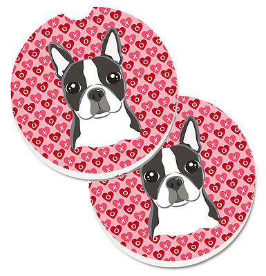Boston Terrier Hearts Set of 2 Cup Holder Car Coasters