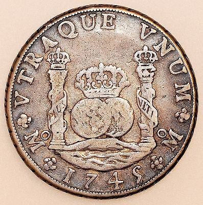 1745 Mf Mexico Silver 8 Reales Coin