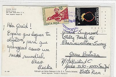 AVENIDA CENTRAL, SAN JOSE: Costa Rica postcard sent to England (C24203)