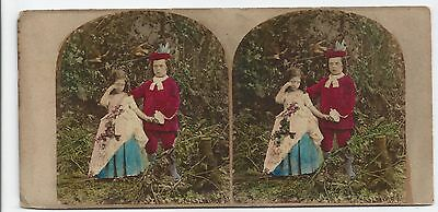 """Stereo Stereoview Genre """"THE CHILDREN IN THE WOOD"""" theatre Kinder 1860er"""