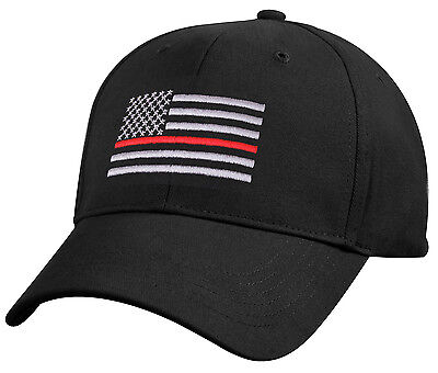 Thin Red Line Cap Black Low Profile Baseball Style Cap w/ Embroidered USA Flag