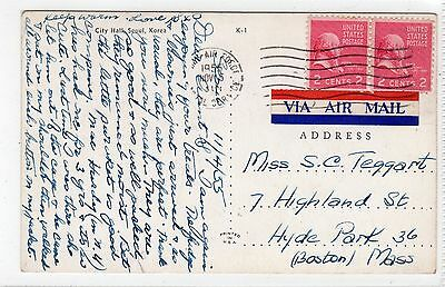 CITY HALL, SEOUL: Korea postcard sent to USA with US AIR FORCE postmark (C24220)