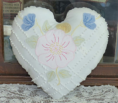 Antique Appliqued Flower Quilt Heart Pillow Free Shipping!