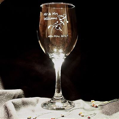 Personalised Engraved Large Wine Glass Wedding Anniversary Mothers Day Gift Set
