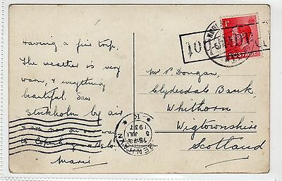 GB USED IN DENMARK: 1937 postcard with PAQUEBOT mark (C24231)