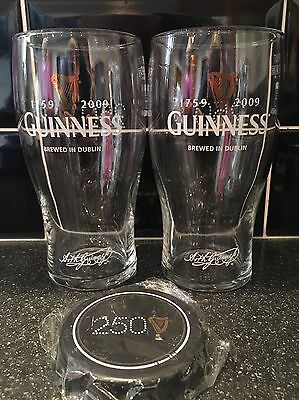 Guinness 250 Year Pint Glasses (X2) - New + Guinness Bottle Opener Magnet