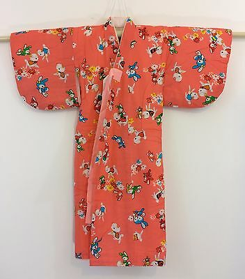 Authentic Japanese pink kimono for little girls, toddler, with jyuban (F987)