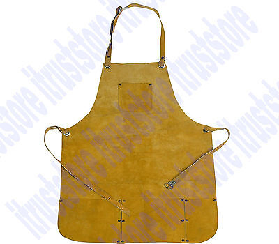 Chicago Electric Welding Leather Apron Split Cowhide Bib Heavy Safety Protection