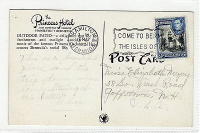 OUTDOOR PATIO, THE PRINCESS HOTEL: Bermuda postcard with HAMILTON pmk (C24102)