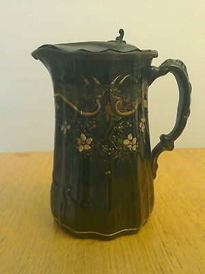 Victorian Antique H J Wood Staffordshire Ceramic Pottery Water Jug Pewter Top