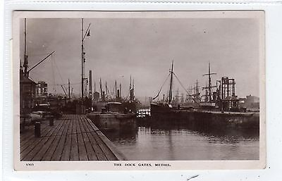 THE DOCK GATES, METHIL: Fife postcard (C24385)