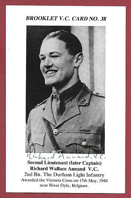 Signed Brooklet Card - Captain Richard Annand Vc - Victoria Cross Recipient Wwii