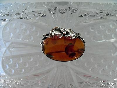 Vintage Golden Baltic Amber Brooch Pin  Art Nouveau 925 Sterling Silver F17