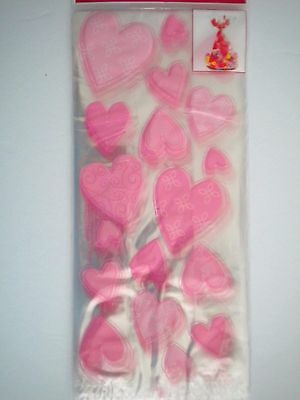 "PKG. OF 25 VALENTINE PINK HEARTS LUXURY CELLO CANDY/TREAT BAGS ~ 5"" x 11.5"""