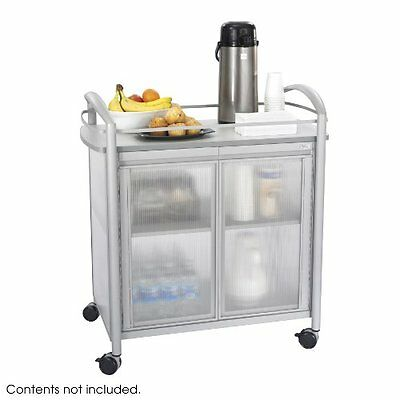 Safco Products 8966GR Impromptu Refreshment Hospitality Cart, Gray...NEW