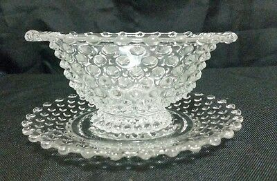 Duncan & Miller HOBNAIL CLEAR (PRESSED) Mayonnaise Bowl & Underplate