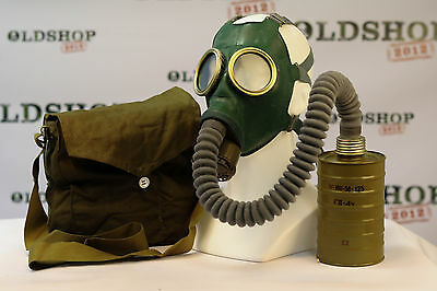 WW2 SIZE 2(M) Soviet Russian Army Gas Mask GP-4 with filter bag Green Rubber NEW