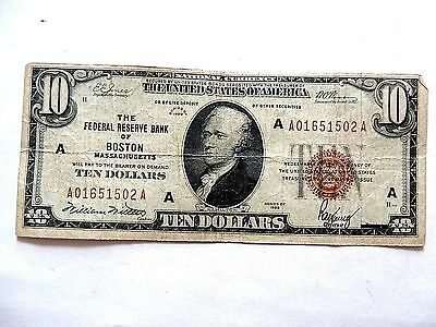1929 Ten Dollar National Currency Federal Reserve Bank Of Boston Note