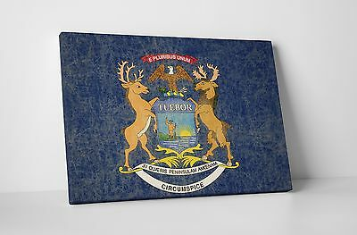 Vintage Michigan State Flag Gallery Wrapped Canvas Wall Art