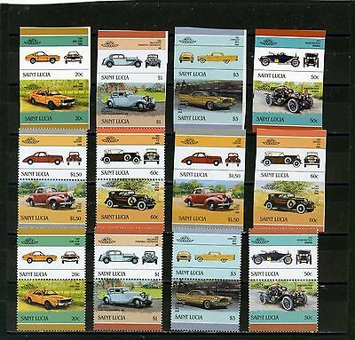 ST.LUCIA 1986 Sc#850-855 CLASSIC AUTOS SET OF 24 STAMPS PERF.& IMPERF.MNH