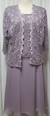 NWT R & M Richards Mother of Bride Orchid Jacket Dress Size 16, 18W Retail $140