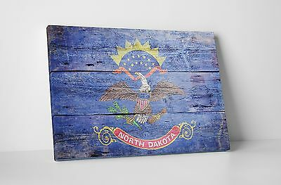 Vintage North Dakota State Flag Gallery Wrapped Canvas Wall Art