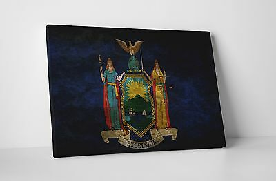 Vintage New York State Flag Gallery Wrapped Canvas Wall Art
