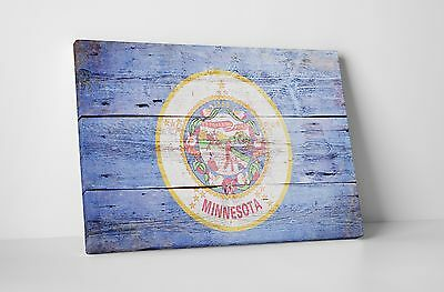 Vintage Minnesota State Flag Gallery Wrapped Canvas Wall Art