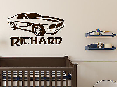 Personalised Sport Car Wall Decal Sticker Removable Vinyl Decor bedroom Logo 2