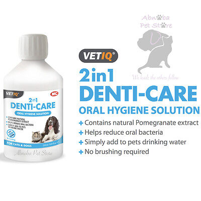 VetIQ 2 in 1 Denti-Care Oral Hygiene Solution add to water daily Reduce bacteria