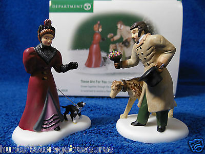 Dept 56 These Are For You Set of 2 Retired 2002 Dickens 58530 New Man Lady Dogs