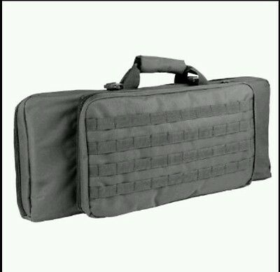 """28"""" Black Tactical MOLLE Padded Double Compartment Rifle Case Gun Bag"""