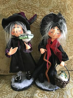 Annalee Halloween 2 Old Hag Witch Dolls Eyeball Frog 10 IN 2013 2011 Set NWT