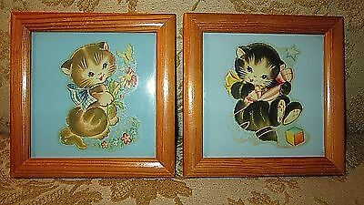 HTF Vintage 1940's DECAL ART TILES Sweet KITTENS CATS~Baby Nursery Decor