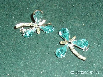 Perfect Glitzy Shamrock Clover Spring Pin Set Vintage Jewelry Lot St Patricks
