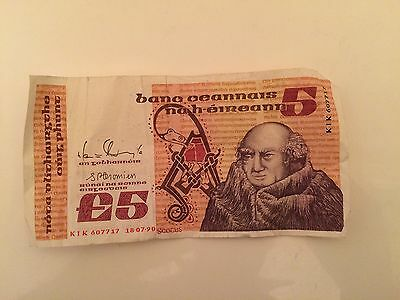 1990 Central Bank Of Ireland £5 Five Pound