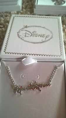 Disney Minnie Mouse Pink Heart Silver Necklace Brand New Gift Boxed