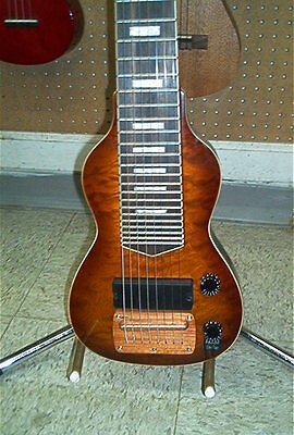 Dillion Non Pedal 8 String Lap Steel Guitar Quilted Maple Tiger Eye Finish