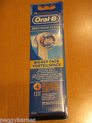 Braun Oral B Precision Clean Toothbrush Heads X 4 New/sealed