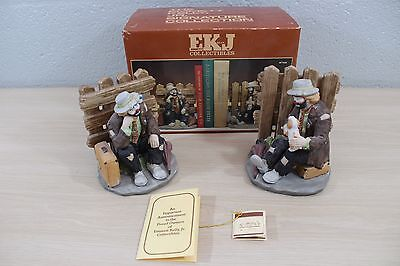 Emmett Kelly Jr Signature Collection Flambro Clown Bookend Set #9748 Bookends