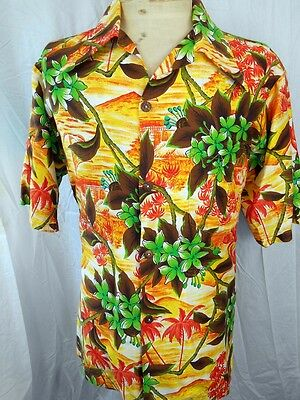 Amazing Vintage 60s 70s Hookano Short Sleeve Floral Cotton Tiki Hawaiian Shirt L