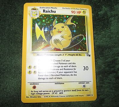 Pokemon RAICHU 14/62 Holo Rare Unlimited Edition Fossil Card (MINT) TCG