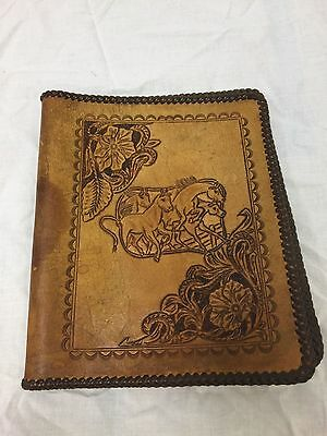 Vintage Leather Book Cover, Horse design